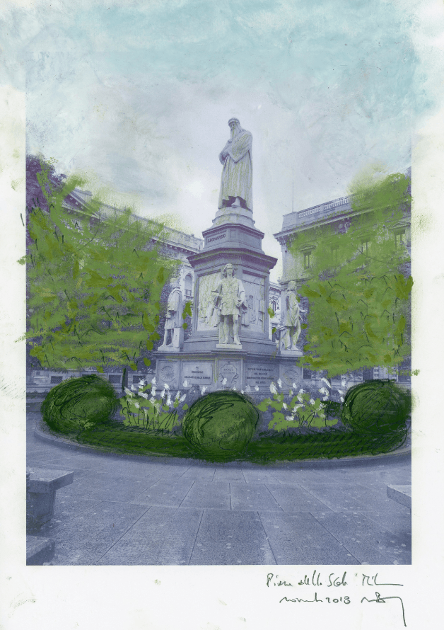 """vista-statua-leonardo In Piazza scala arriva """"Seminiamo"""", il progetto che unisce la cura del verde all'integrazione sociale Ambiente Costume e Società"""